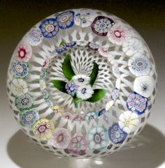 "Antique New England Glass Co paperweight - Nosegay over latticino. Circa 1850, 2 1/2""w x 1 1/2""t, 10.7 oz. - #0630"