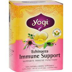 Yogi Immune Support Herbal Tea Echinacea - 16 Tea Bags - Case of 6