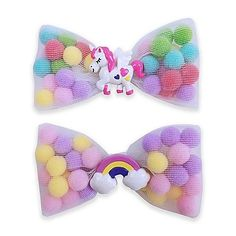 Add a pop of color to your little one's wardrobe with the Unicorn and Rainbow Pom Hair Clip from Tiny Treasures. The clips have sheer bows filled with multi-colored mini pom-poms. The unicorn or rainb