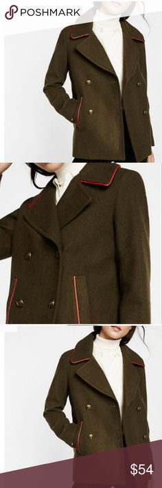"🌲HOST PICK🌲 EXPRESS MILITARY PEACOAT NWT Olive trimmed in Red piping, Heavy Duty wool, dry clean only. Buttons down the front, nice polyester lining.  2 pockets.  Very warm!  Medium measurements: armpit to armpit 21"" length 28"" sleeves 25"" Express Jackets & Coats Pea Coats"