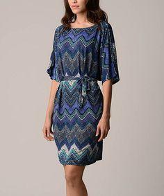 Blue & Purple Zigzag Boatneck Dress - Women & Plus by Christine V #zulily #zulilyfinds
