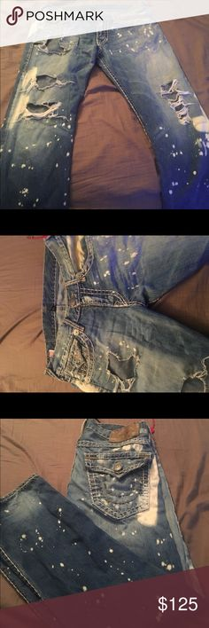🍃True religion jeans light blue design🍃 Selling my brothers old Used light blue true religion trues Men's size  32-34 have a bit of weed smell but can be washed them True Religion Jeans Straight