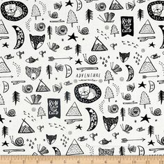 Designed by Wee Gallery for Dear Stella, this cotton print fabric tells the story of an outdoor adventure with bears, teepees and even foxes! Perfect for quilting, apparel and home decor accents. Colors include black and white.