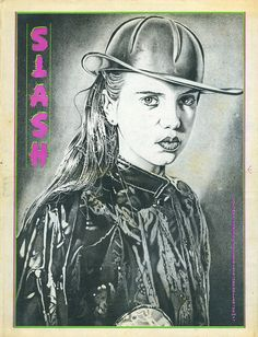 Cover: Slash volume two #9, October 1979. Sue Tissue of Suburban Lawns. Illustration: Mark Vallen.