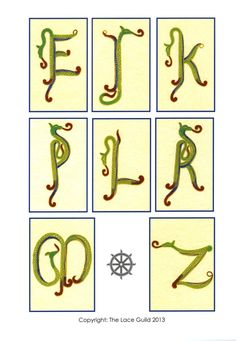 "More pictures from our wonderful ""Celtic Letters in Milanese Lace"" book.  Written by Pat Read, this is the full alphabet developed by request of many lacemakers from the first letters which appeared in her book ""50 New Milanese Lace Patterns""   - just £6.00, this book is still available from the Guild. Contact the office on hollies@laceguild.org"