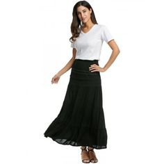 Women Casual Elastic Waist Lace Trim Boho Solid Long Maxi Tiered Skirt
