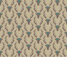 deer_head_tan_turquoise fabric by holli_zollinger on Spoonflower - custom fabric