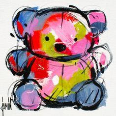 Ourson - acrylique sur toile - 20x20cm - année 2016