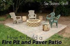 How to build your own fire pit and paver patio from SixSistersStuff.com. #DIY #Lowes #outdoors #campfire