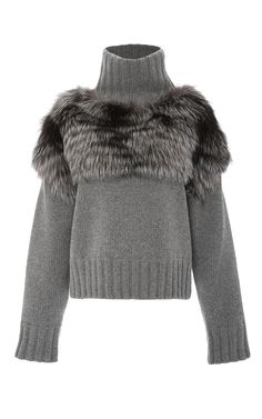 Silver Fox Fur Trimmed Sweater by Sally LaPointe Fur Fashion, Unique Fashion, Womens Fashion, Fur Accessories, Modelista, Knitting Designs, Mode Inspiration, Fox Fur, Fur Jacket