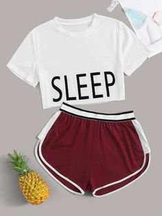 Letter Graphic Crop Tee With Track Shorts PJ SetCheck out this Letter Graphic Crop Tee With Track Shorts PJ Set on Romwe and explore more to meet your fashion needs! Cute Lazy Outfits, Summer Outfits For Teens, Sporty Outfits, Mom Outfits, Cute Pajama Sets, Cute Pjs, Pj Sets, Cute Pijamas, Pijamas Women