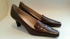 "Anne Klein iflex Brown Leather Pumps Shoes Size 9.5 M womens 3"" Heels KKFLETCHER #AnneKlein #PumpsClassics"