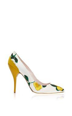 Furnet Floral Pump In Yellow by Oscar de la Renta for Preorder on Moda Operandi
