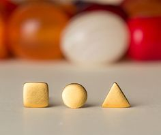 Extra Tiny Geometric Stud ONE Gold Circle Earring by zoozjewelry