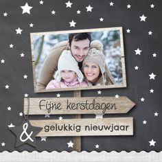Mooie enkele kerstkaart met houten pijlen en krijtbord print. Geheel zelf aan te passen! Verzending gratis binnen Nederland en België.