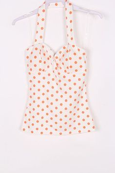 Orange polka dot halter top