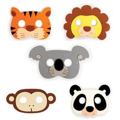 Masques de fête Jungle (Set de 5 : lion panda singe tigre koala)