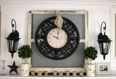 Love this grouping for the fireplace mantel.