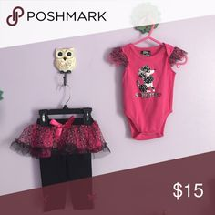 Leopard Print Outfit W/ Tutu Pants 3-6 month outfit. Super cute pink animal print. Never worn. I bought the pants & bottoms with tutu separately and paired them up. Matching Sets