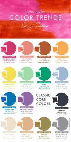 Spring 2021 Summer 2021 Pantone Color Trends Report Color Combinations by Erika Firm Palette Pantone, Pantone Color, Colour Pallete, Color Combos, Green Ash, Plakat Design, Raspberry Sorbet, Fashion Colours, Spring Trends