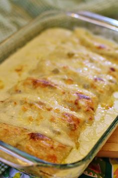 Chicken enchiladas with green chili sour cream sauce *These are seriously so so good* 10 soft taco shells 2 cups cooked, shredded chicken 2 ...