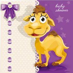 Happy baby camel vector card