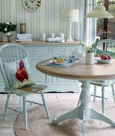 Turquoise table, chairs, and cupboard.