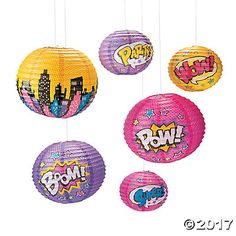 Who says boys get to have all the fun? These Superhero Girl Paper Lanterns make great party décor for a Superhero theme birthday party! In bright, . Girl Superhero Party, Superhero Baby Shower, Superhero Wall Art, Superhero Classroom, Balloon Lanterns, Hanging Paper Lanterns, 6th Birthday Parties, Birthday Party Decorations, 4th Birthday