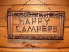 Rustic Wood Twig Happy Campers Sign Log Cabin Adirondack | eBay