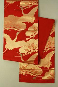 Scarlet Fukuro Obi (Rokutsu), Gold Flying Crane Pattern / 緋赤地 金の飛鶴松柄 六通袋帯…