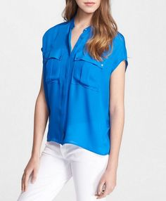 NWT VINCE Cap Sleeve Cargo Pocket Silk Blouses, Danube Blue, Small,$245 #Vince #Blouse #Careercausal