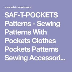 SAF-T-POCKETS Patterns - Sewing Patterns With Pockets Clothes Pockets Patterns Sewing Accessories Oregon Hidden Pockets Patterns Sewing Notions Oregon