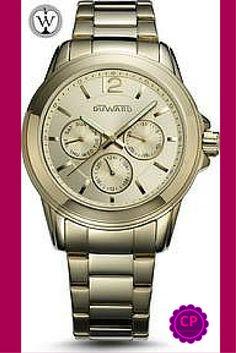Reloj de señora dorado #Duward  www.capricciplata.com www.facebook.com/capricci.plata1 Chronograph, Watches, Facebook, Accessories, Clocks, Wristwatches, Jewelry Accessories