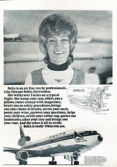 Delta Air Lines 1973 Stewardess Advert, [featuring McDonnell Douglas Job Interview Preparation, Vintage Airline, Air Lines, Vintage Advertisements, Ads, Time Warp, Fiction Novels, Wide Body, Aviation Art