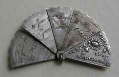 Antique German Unforgettable Days Silver Fan Charm
