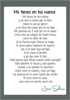 Jaime Sabines Gutiérrez (Tuxtla Gutiérrez, Chiapas, 25 de marzo de 1926 - Ciudad de México; 19 de marzo de 1999) fue un poeta y político mexicano, considerado como uno de los grandes poetas mexicanos del siglo XX. GRACIAS POR VISITAR MI POST....