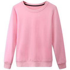 Womens Plain Round Neck Long Sleeve Pullover Sweatshirt Pink ($15) ❤ liked on Polyvore featuring tops, hoodies, sweatshirts, pink, long sleeve sweatshirt, sweater pullover, pullover sweatshirt, round neck top and long sleeve pullover