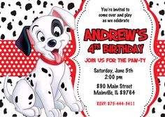 101 Dalmatians Birthday Party Invitation by PrettyPaperPixels