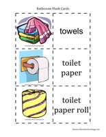 Bathroom Flash Cards Word List: Towels, Toilet Paper, Toilet Paper Roll, Toilet Seat, Toilet, Sink, Bathtub, Shower, Soap, Shower Curtain, Shampoo, Hair Dryer, Toothpaste, Toothbrush, Make-Up, Razor, Dental Floss, Nail File, Nail Clipper, Scale, Electric Toothbrush, Q-Tips, Hair Brush, Comb, Curlers, Tweezers, Curling Iron, Bandaids, Foot Bath, Toilet Brush.