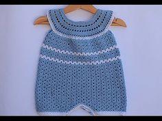 Pelele , enterizo o jardinero a crochet 2ªparte #tutorial #diy - YouTube