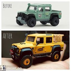 Reposted from - Here's the obligatory before and after shot of my custom Hotwheels LR Defender . Custom Hot Wheels, Hot Wheels Cars, Custom Cars, 4x4 Trucks, Diecast Model Cars, Model Building, Land Rover Defender, Classic Toys, Amazing Cars