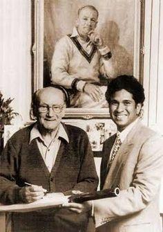 Young Sachin Tendulkar with Don Bradman