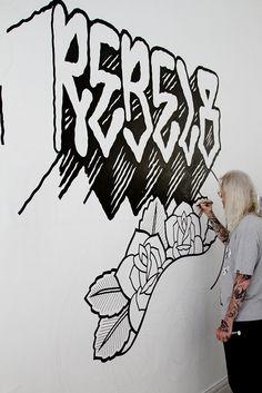 x Mike Giant Murals Street Art, Graffiti Murals, Graffiti Lettering, Street Art Graffiti, Typography Letters, Hand Lettering, Mike Giant, Music Painting, Drawing Letters