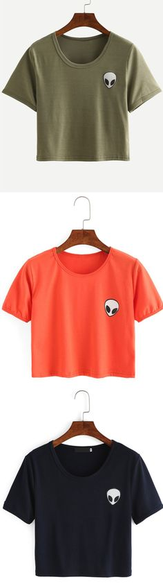 Shop Alien Print Crop T-shirt - Olive Green online. ROMWE offers Alien Print Crop T-shirt - Olive Green & more to fit your fashionable needs. Cute Summer Outfits, Outfits For Teens, Cute Outfits, Grey Shirt, Sweater Shirt, Vert Olive, Olive Green, Estilo Converse, T Shirt Court