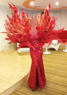 Ash Costume, Phoenix Costume, Drag Queen Outfits, Fashion Illustration Collage, Burlesque Costumes, Weird Fashion, Ball Gown Dresses, Girls Show, Fashion Face Mask