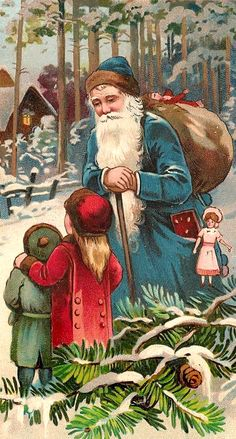 vintage Santa with children in the snow, sack full of toys at Christmas