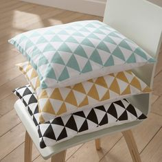 Housse de coussin coton déco triangles - Rose - 3Suisses Collection - Linge  de maison d390872ed5cb
