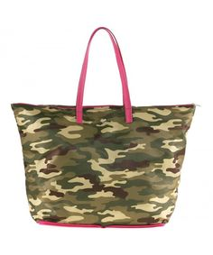 Women s Portable Polyester Shopper with Zipper Closure - Military  Camo Orchid Pink - CG17Y7E8Q5S 0b125830848ed