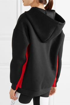 P.E Nation | Prime Time striped scuba-jersey hooded top | NET-A-PORTER.COM