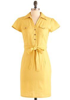 Sun, Sun, Sun Dress - Mid-length, Yellow, Solid, Bows, Buttons, Pockets, Sheath / Shift, Cap Sleeves, Casual, Work, Safari, Spring